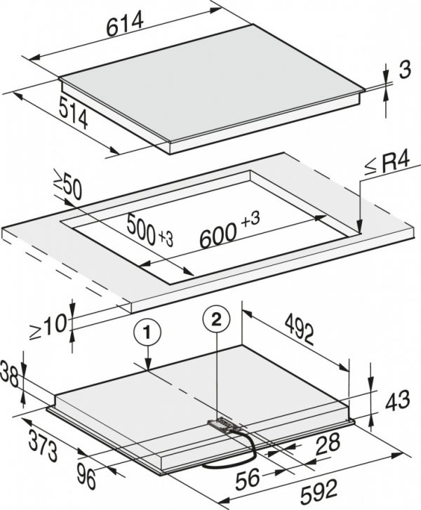 Панель конфорок KM6540 FR сталь