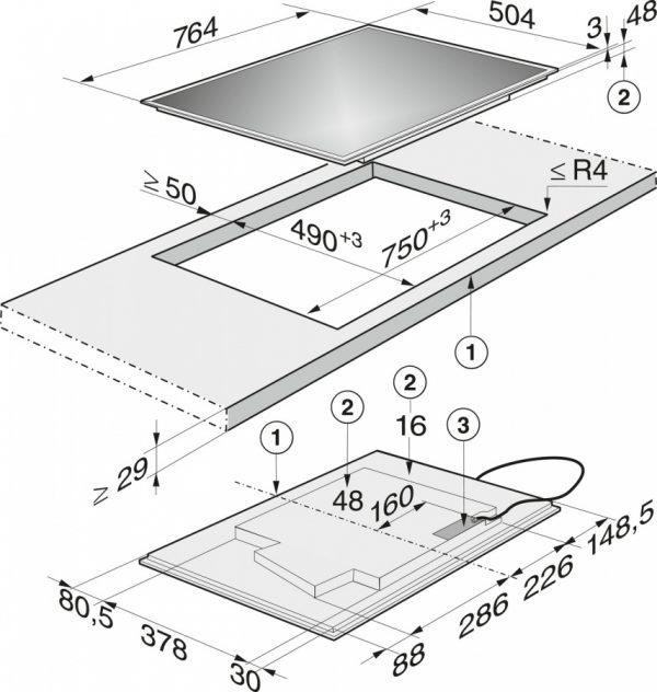 Панель конфорок KM6629-1 RU EDST сталь