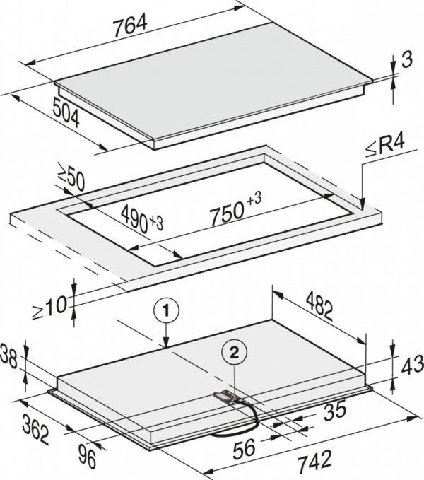 Панель конфорок KM6522 FR сталь