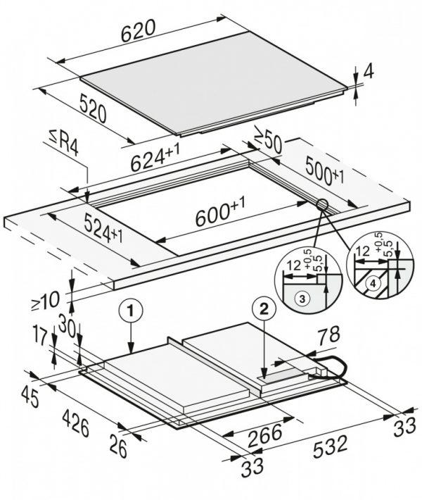 Панель конфорок KM7667 FL встр. сверху и заподлицо